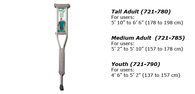 Hugo Lightweight Aluminum Crutches