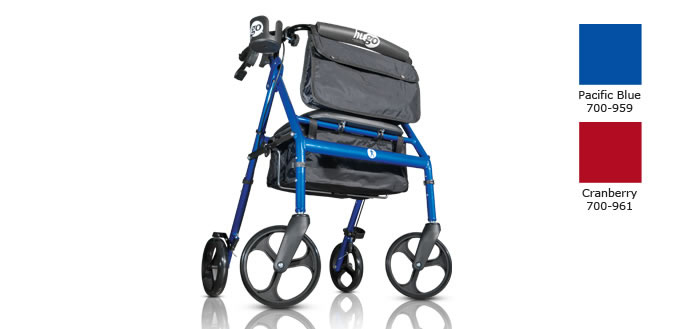 Hugo Elite Rolling Walker with Seat, colors: Pacific Blue and Cranberry