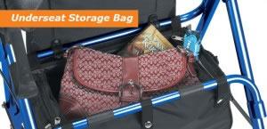 Hugo Rolling Walker with Seat, Underseat Storage Bag