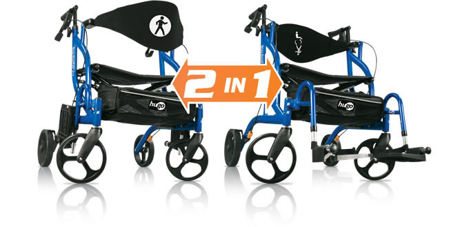 The 2 in 1 Hugo® Navigator™: Side-Folding Rolling Walker and Transport Chair