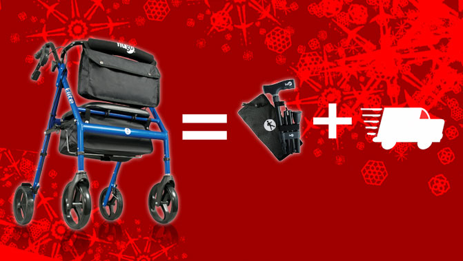 Hugo holiday sale offers free shipping on rollators, and a free cane with Elite and Explore