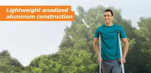 Hugo Lightweight Aluminum Crutches, Lightweight Anodized Aluminum Construction