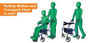 Hugo Navigator Rolling Walker Transport Chair, Rolling Walker and Transport Chair in One