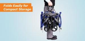 Hugo Navigator Rolling Walker Transport Chair, Folds easily for Compact Storagewidth=