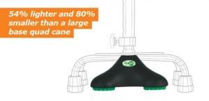 Hugo Quadpod Offset Cane Tip is 54% lighter and 80% smaller than a large base quad cane