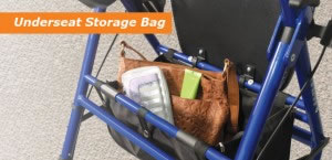 Hugo Switch Rolling Walker Transport Chair, Underseat Storage Bag