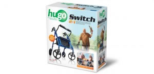 Hugo Switch Rolling Walker Transport Chair, Retail Box