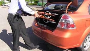 Hugo Sidekick Rollator in trunk of car