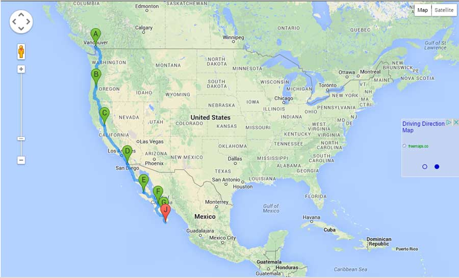 Map from Vancouver to Cabo San Lucas