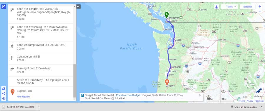 map of route from Vancouver, BC to Eugene, OR