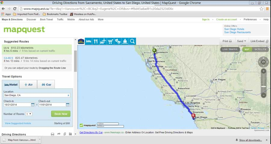 map of route from Sacramento, CA to south of San Diego, CA